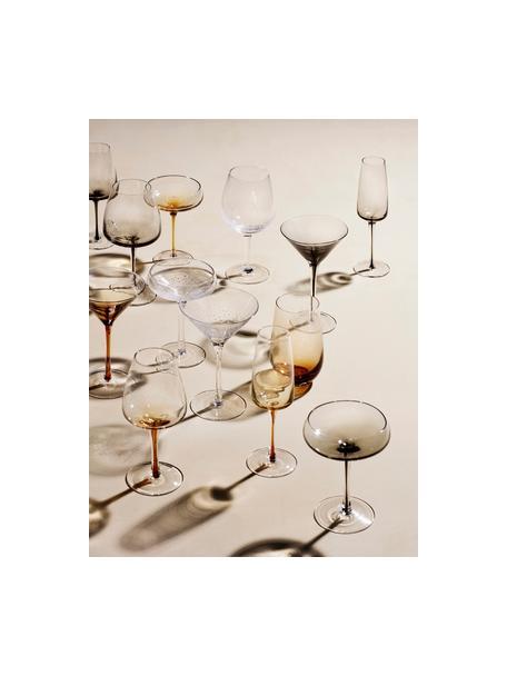 Kieliszek do szampana ze szkła dmuchanego Smoke, 4 szt., Szkło dmuchane, Transparentny z szarym odcieniem, Ø 7 x W 23 cm