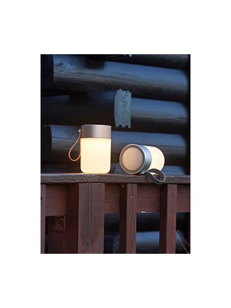 Lámpara para exterior regulable con altavoz Sound Jar, portátil, Pantalla: plástico, Asa: plástico, Plateado, blanco, Ø 9 x Al 14 cm