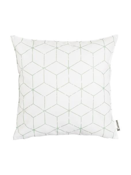 Outdoor kussen Cube met grafisch patroon in saliegroen/wit, met vulling, 100% polyester, Wit, groen, 47 x 47 cm