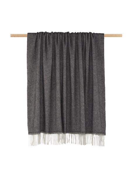 Wollen plaid Aubrey met fijn zigzag patroon, Antraciet, gebroken wit, 140 x 186 cm