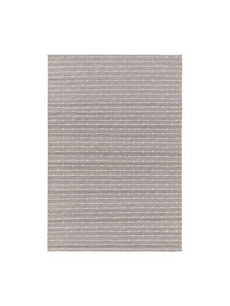 Handgewebter Baumwollteppich Lupo in Grau/Beige, 80% Baumwolle, 20% Wolle, Grau, B 80 x L 120 cm (Größe XS)