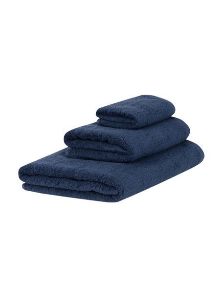 Set 3 asciugamani Comfort, Blu scuro, Set in varie misure