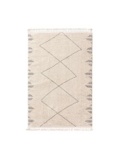 Hochflor-Teppich Bosse mit Bohomuster und Fransen, 100% Polyester, Hellbeige, Grau, B 120 x L 170 cm (Größe S)
