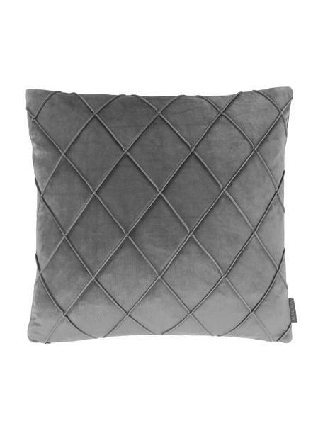 Samt-Kissenhülle Nobless in Grau mit erhabenem Rautenmuster, 100% Polyestersamt, Grau, 50 x 50 cm