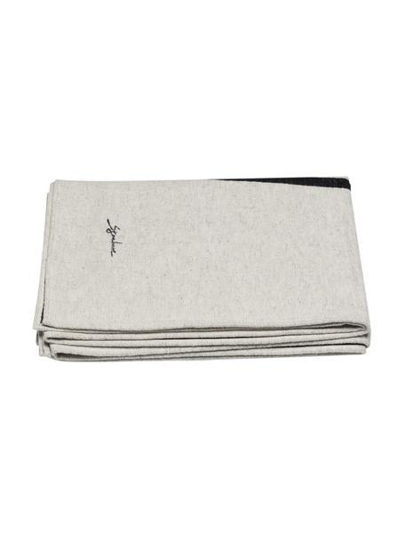 Baumwolldecke Luca mit One-Line-Zeichnung, 85% Baumwolle, 15% Polyacryl, Weiß, Schwarz, 140 x 200 cm