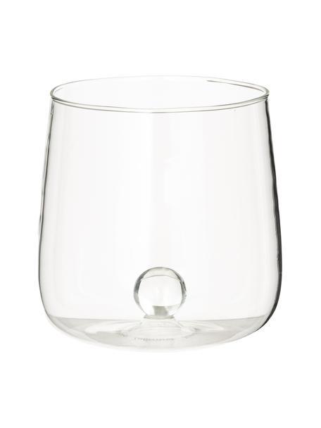 Vasos de vidrio soplado artesanalmente de diseño Bilia, 6uds., Vidrio de borosilicato, Transparente, Ø 9 x Al 9 cm