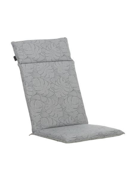 Hochlehner-Stuhlauflage Palm mit Palmenprint, Bezug: 50% Baumwolle, 45% Polyes, Grau, 50 x 120 cm