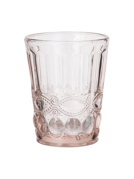 Vasos con relieve Solange, 6uds., Vidrio, Transparente, rosa, Ø 8 x Al 10 cm