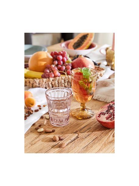 Bicchiere acqua con motivo a rilievo Solange 6 pz, Vetro, Trasparente, rosa, Ø 8 x Alt. 10 cm