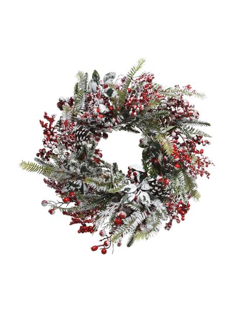 Kerstkrans Patricia, Kunststof, Groen, rood, wit, Ø 40 x H 15 cm