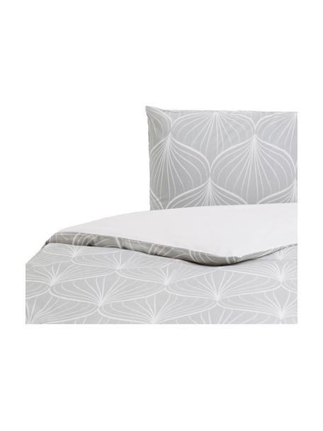 Parure copripiumino in cotone Rama, Cotone, Fronte: grigio, bianco Retro: bianco, 155 x 200 cm
