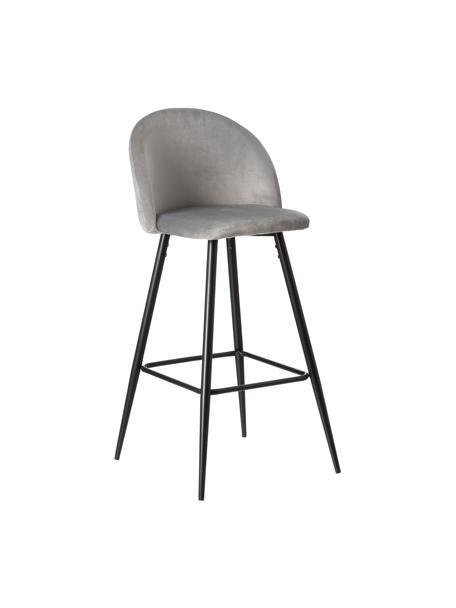 Taburete alto con respaldo Maxine, Tapizado: 100%poliéster, Patas: metal recubierto, Gris, negro, An 48 x Al 102 cm