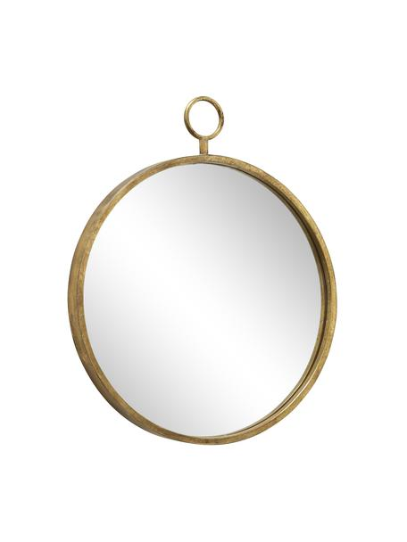 Runder Wandspiegel Prado mit messingfarbenem Metallrahmen, Rahmen: Metall, vermessingt, Spiegelfläche: Spiegelglas, Messingfarben, 55 x 66 cm