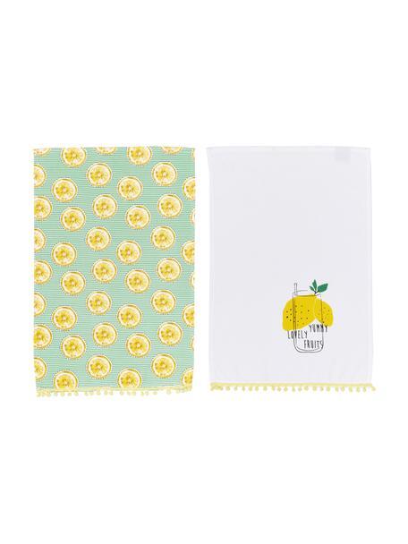 Theedoekenset Lemon, 2-delig, 100% katoen, Geel, wit, groen, 40 x 60 cm