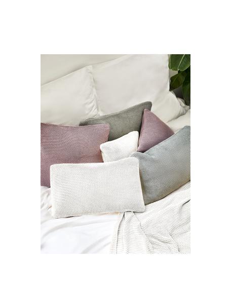 Federa arredo a maglia in cotone biologico bianco Adalyn, 100% cotone biologico, certificato GOTS, Bianco naturale, Larg. 30 x Lung. 50 cm