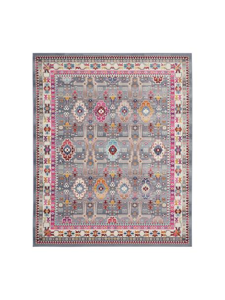 Vloerkleed Vintage Kashan met vintage patroon, Bovenzijde: 100% polypropyleen, Onderzijde: latex, Grijs, multicolour, B 120 x L 180 cm (maat S)