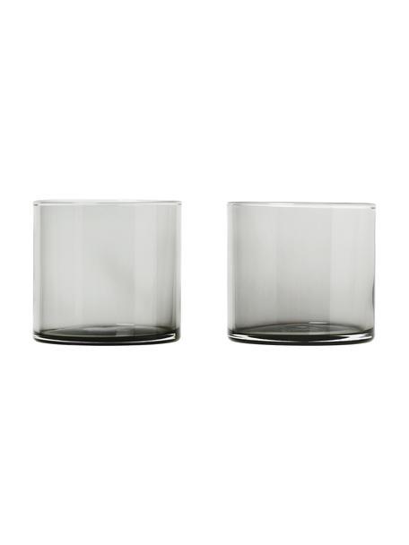 Wassergläser Mera in Grau, 2 Stück, Glas, Grau, transparent, Ø 8 x H 7 cm