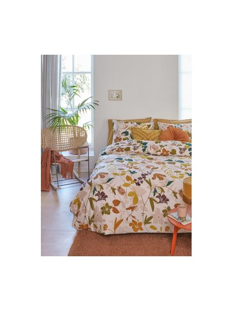 Baumwollsatin-Bettwäsche Silhouettes mit Blumenmotiven, Webart: Satin Fadendichte 220 TC,, Cremeweiß, Mehrfarbig, 135 x 200 cm + 1 Kissen 80 x 80 cm