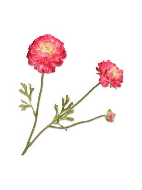 Ranuncolo artificiale, rosa 2 pz, Materiale sintetico, filo metallico, Rosa, Lung. 54 cm