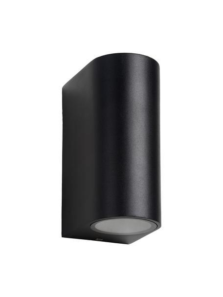 Außenwandleuchte Zora in Schwarz, Lampenschirm: Aluminium, beschichtet, Diffusorscheibe: Glas, Schwarz, 7 x 15 cm
