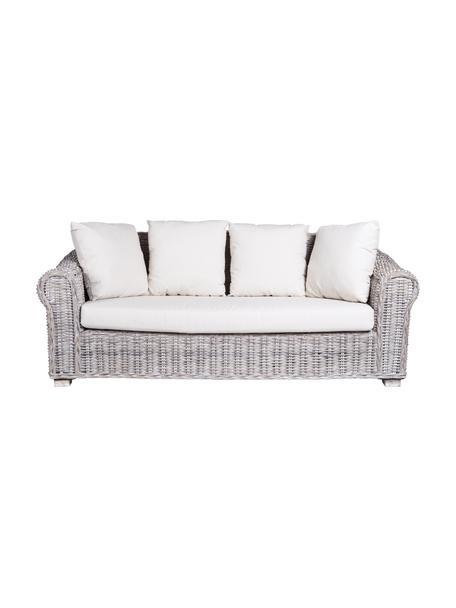 Sofá de exterior Coba (3plazas), Estructura: ratán, trenzado de kubu, , Patas: madera de mango, Gris, blanco, An 204 x Al 96 cm