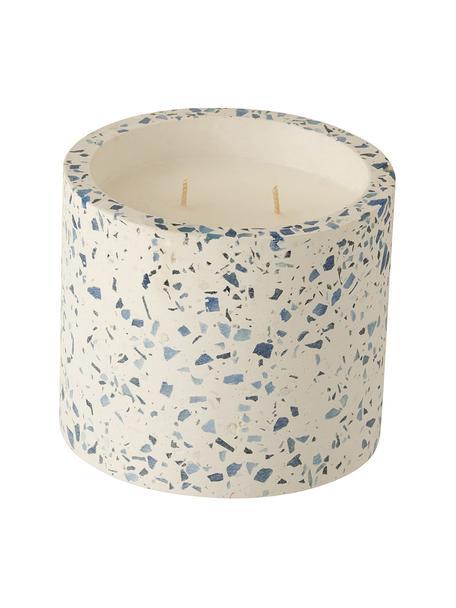 Vela perfumada de dos mechas Terrazzo, Recipiente: gres, Crema, azul, Ø 12 x Al 11 cm