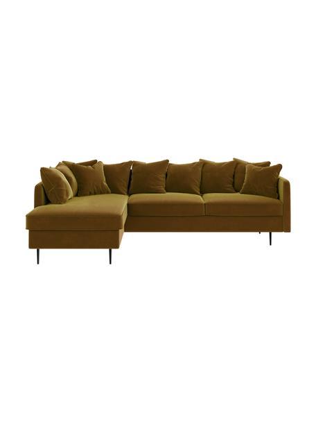 Sofa narożna z aksamitu Esme, Tapicerka: 100% aksamit poliestrowy, Stelaż: drewno liściaste, drewno , Nogi: metal powlekany Dzięki tk, Musztardowy, S 255 x G 165 cm
