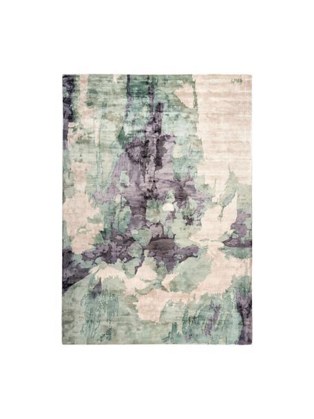 Viskose-Teppich Malu mit abstraktem Muster, Flor: 100% Viskose, Beige, Grün, Grau, B 120 x L 170 cm (Größe S)