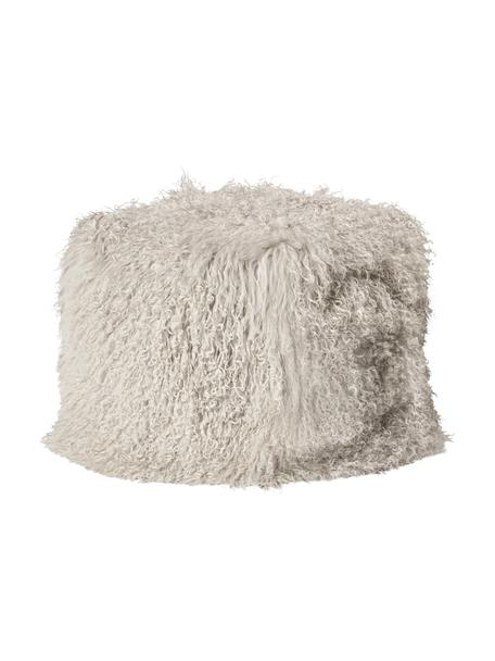 Zitzak van schapenvacht Cube, Taupe, B 60 cm
