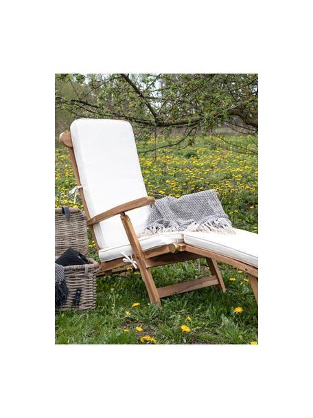 Liegestuhl Arrecife aus Teakholz mit Baumwoll-Polsterauflage, Teakholz, Cremeweiß, 150 x 80 cm