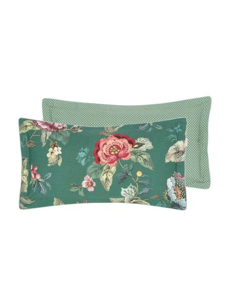 Baumwollperkal-Wendekissenbezug Poppy Stitch, floral/gemustert, Webart: Perkal Fadendichte 200 TC, Grün, Mehrfarbig, 40 x 80 cm