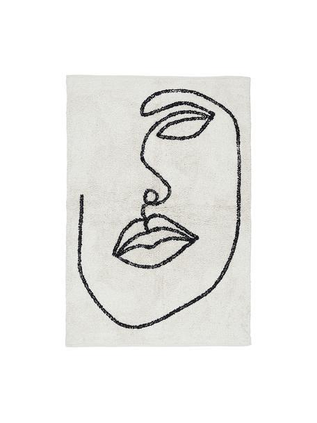 Handgeknoopt katoenen vloerkleed Visage met abstracte one line tekening, 100% biokatoen, Gebroken wit, zwart, B 90 x L 120 cm (maat XS)