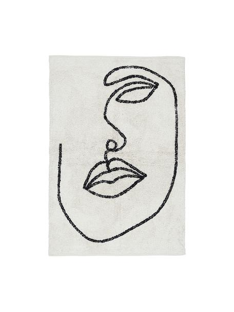 Handgeknüpfter Baumwollteppich Visage mit abstrakter One Line Zeichnung, 100% Bio-Baumwolle, Gebrochenes Weiß, Schwarz, B 90 x L 120 cm (Größe XS)