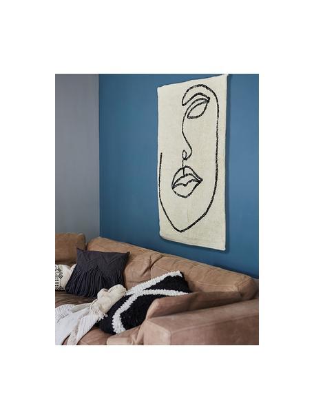 Handgeknüpfter Baumwollteppich Visage mit abstrakter One Line Zeichnung, 100% Bio-Baumwolle, Gebrochenes Weiss, Schwarz, B 90 x L 120 cm (Grösse XS)