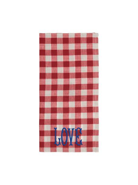Katoenen theedoeken Love met ruitpatroon in rood/beige, 2 stuks, 84% katoen, 16% linnen, Rood, beige, 45 x 45 cm