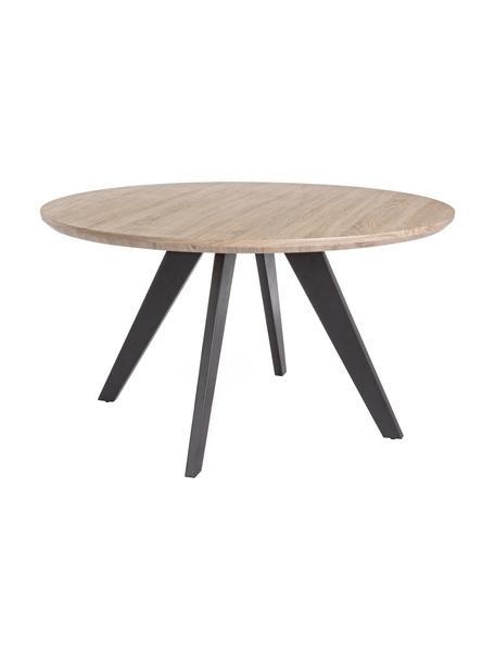 Tavolo rotondo con impiallacciatura di rovere Henry, Ø134 cm, Piano d'appoggio: pannello di fibra a media, Gambe: metallo verniciato a polv, Impiallacciato rovere, Ø 134 x Alt. 76 cm