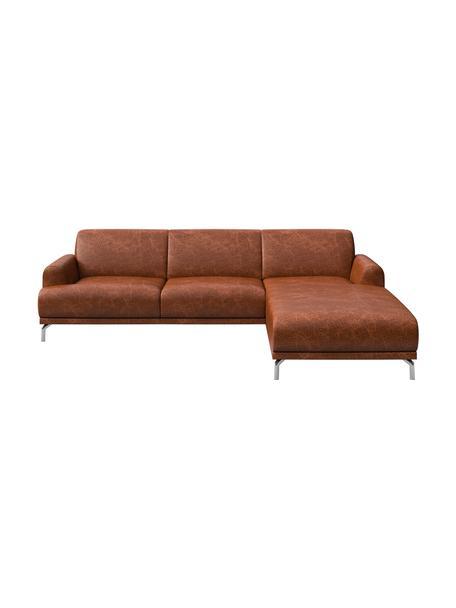 Sofa narożna ze skóry Puzo, Tapicerka: 100% skóra, Nogi: metal lakierowany, Koniakowy z wykończeniem vintage, S 240 x G 165 cm