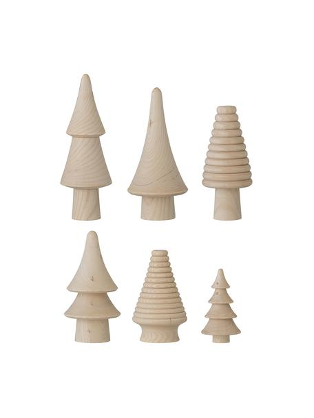 Deko-Bäume Rias, 6 Stück, Holz, Beige, Set mit verschiedenen Größen