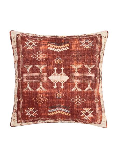 Kussenhoes Tanger met ethnopatroon in rood/beige, 100% katoen, Rood, beige, 45 x 45 cm