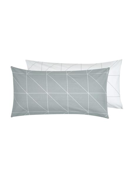 Baumwoll-Wendekopfkissenbezüge Marla mit grafischem Muster, 2 Stück, Webart: Renforcé Fadendichte 144 , Grau, Weiß, 40 x 80 cm