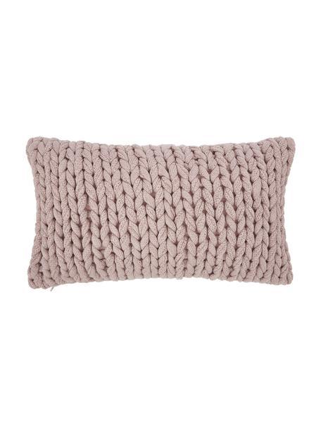 Ręcznie wykonana poszewka na poduszkę z grubej dzianiny Adyna, 100% poliakryl, Brudny różowy, S 30 x D 50 cm
