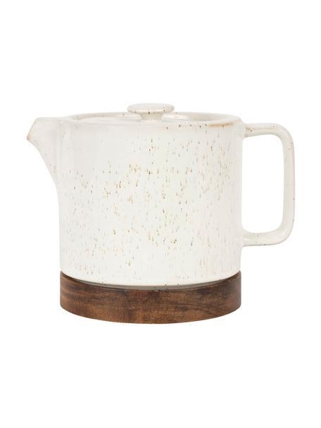 Kleine keramische theepot Nordika met acaciahouten basis, 700 ml, Keramiek, acaciahout, Wit, bruin, 700 ml