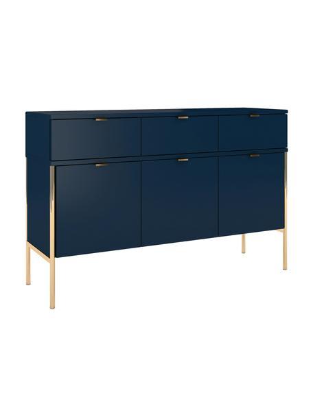 Donkerblauw polka dressoir met deuren, Frame: gelamineerd vezelplaat me, Donkerblauw, 120 x 78 cm