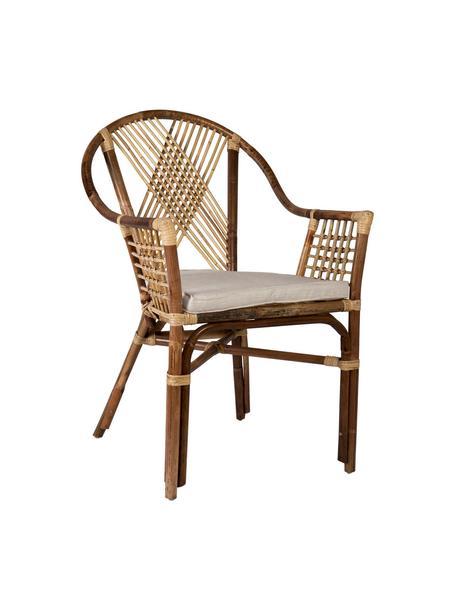 Krzesło z podłokietnikami z rattanu Cruz, Brązowy, S 55 x G 60 cm