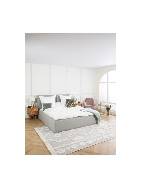 Łóżko tapicerowane Dream, Korpus: lite drewno sosnowe i pły, Tapicerka: poliester (tkanina strukt, Jasny szary, S 140 x D 200 cm