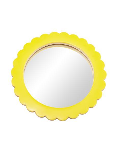 Kosmetikspiegel Bloom mit gelbem Kuststoffrahmen, Rahmen: Polyresin, Mitteldichte H, Spiegelfläche: Spiegelglas, Gelb, Ø 17 cm x T 2 cm