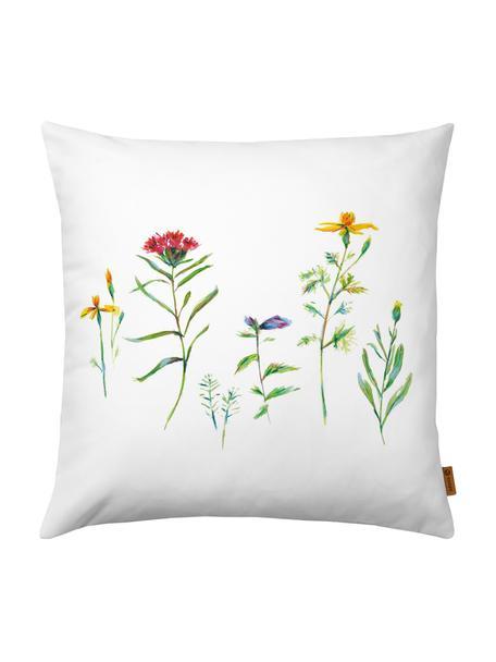 Funda de cojín Wildblumen, Poliéster, Blanco, multicolor, An 40 x L 40 cm