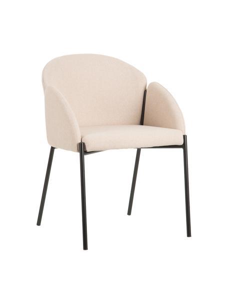 Beige gestoffeerde stoel Malingu met metalen poten, Bekleding: 95 % polyester, 5 % katoe, Frame: gelakt metaal, Beige, 60 x 60 cm