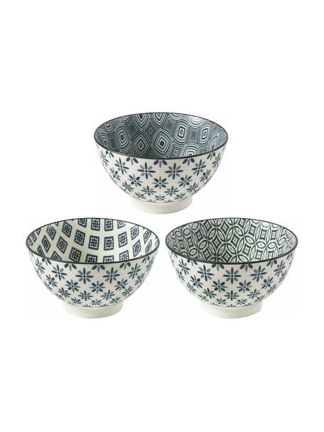 Komplet miseczek Double, 6 elem., Kamionka, Niebieski, biały, Ø 14 x W 8 cm