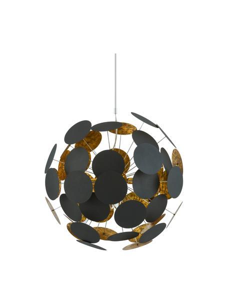 Grosse Pendelleuchte Planet in Schwarz-Gold, Baldachin: Metall, pulverbeschichtet, Dekor: Metall, Schwarz, Kupfer, Ø 66 cm